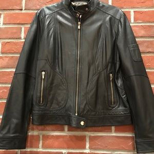 LAUNDRY BY SHELLI SEGAL WOMEN LEATHER JACKET L